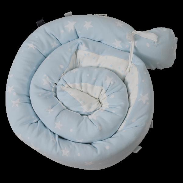 Minene Πολυχρηστικό Μαξιλάρι – Snuggly Snake Cotton Σιέλ Αστέρια
