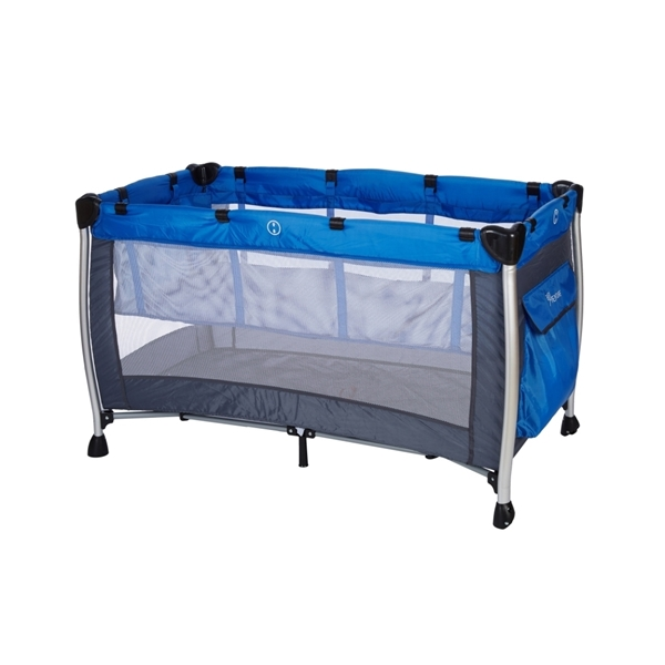 Baby Adventure Παρκοκρέβατο 2 Θέσεων Holiday Aluminium, Grey Blue 60*120cm