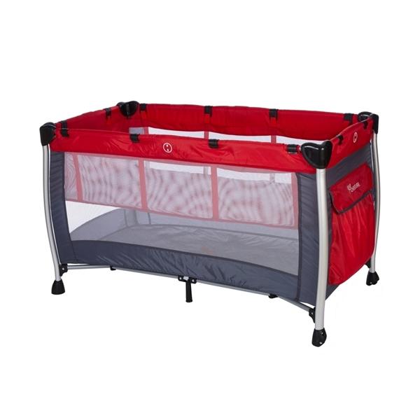 Baby Adventure Παρκοκρέβατο 2 Θέσεων Holiday Aluminium, Grey Red 60*120cm