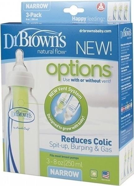 Dr. Brown's Natural Flow Options Πλαστικό Μπιμπερό Με Στενό Λαιμό 250ml 3 τεμ.