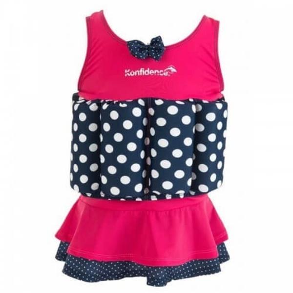 Konfidence Μαγιώ σωσίβιο Float Suit Pink - Navy Polka 1-2 Ετών