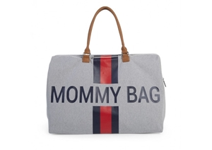 Childhome Τσάντα Αλλαγής Mommy Bag Big Grey Stripes Red/Blue