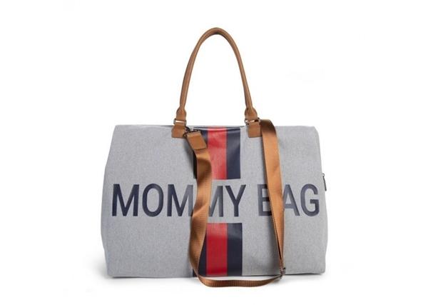 Childhome Τσάντα Αλλαγής Mommy Bag Big Grey Stripes Red/Blue