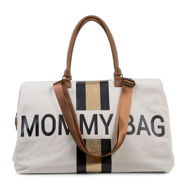 Childhome Τσάντα Αλλαγής Mommy Bag Off - White Stripes Black/Gold