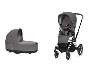 Cybex Καρότσι Priam & Πορτ Μπεμπέ Lux Manhattan Grey, Chrome Brown Frame