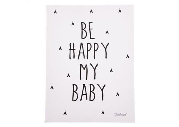 Childhome Πίνακας Be Happy My Baby Black & White
