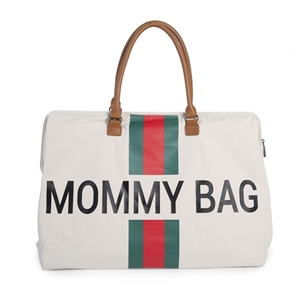 Childhome Τσάντα Αλλαγής Mommy Bag Big Off White Stripes Green/Red