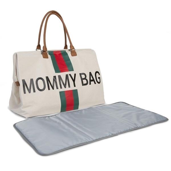 Childhome Τσάντα Αλλαγής Mommy Bag Big Off White Stripes Green/Red