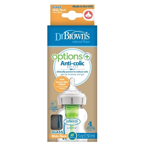 Dr. Brown's Natural Flow® Options+™ Γυάλινο Μπιμπερό Με Φαρδύ Λαιμό 150ml.