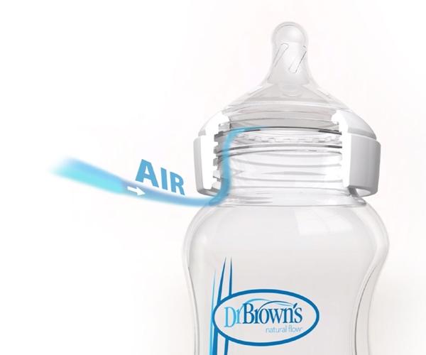 Dr. Brown's Natural Flow® Options+™ Γυάλινο Μπιμπερό Με Φαρδύ Λαιμό 270ml. 2 τεμ.
