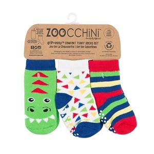 Zoocchini - Αντιολισθήτικά Καλτσάκια Grip + Easy Ντέβιν ο Δεινόσαυρος
