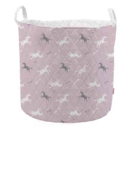 Minene Μεγάλο Καλάθι Αποθήκευσης Γκρι-Ροζ Unicorn