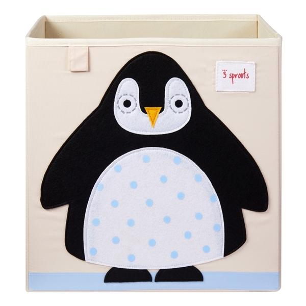 3 sprouts Καλάθι Για Παιχνίδια Τετράγωνο - Penguin