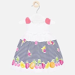 Mayoral Φόρεμα Φρούτα Και Ρίγες Νεογέννητο κορίτσι, Μπλέ