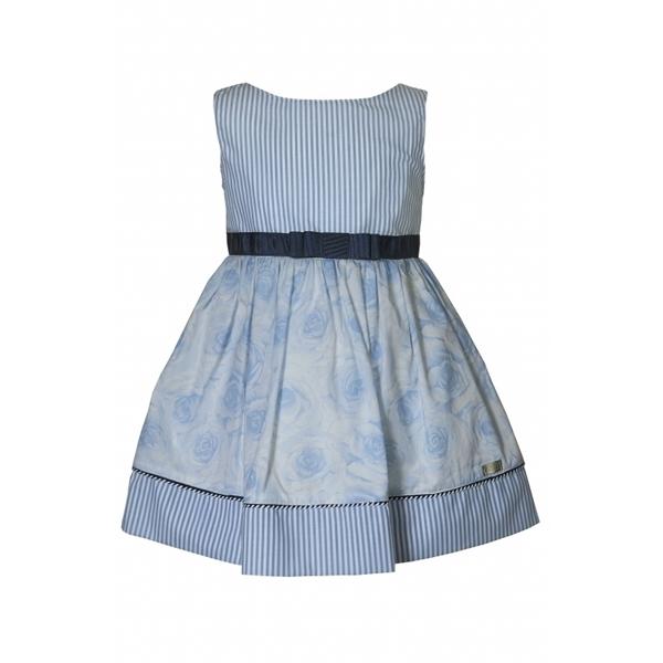 M&B Fashion Φόρεμα Ριγέ Λουλούδια