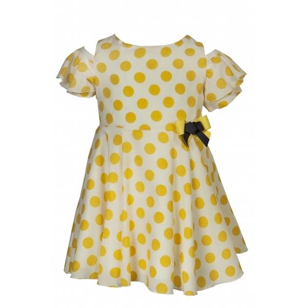 M&B Fashion Φόρεμα Πουά Κίτρινο