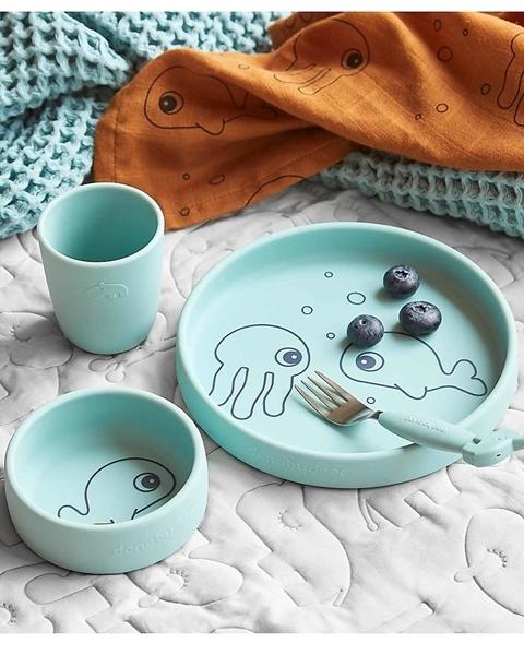Done By Deer - Σετ Φαγητού Σιλικόνης, Sea Friends Blue