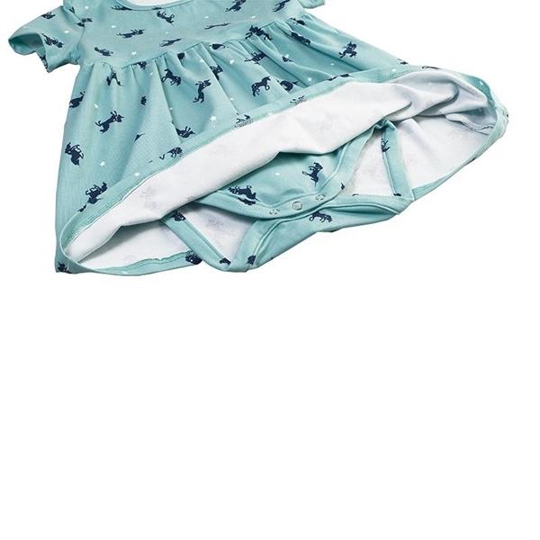 Καρφιτσωμένος Γάτος - Βρεφικό Φόρεμα με Ενσωματωμένο Κορμάκι & Μοτίβο Μονόκερους