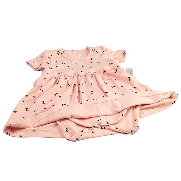 Καρφιτσωμένος Γάτος - Βρεφικό Φόρεμα με Ενσωματωμένο Κορμάκι & Μοτίβο Γεωμετρικά Τρίγωνα