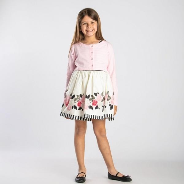 TRAX Φλοράλ Φόρεμα Με Ροζ Ζακέτα