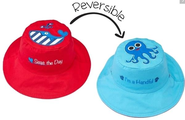 FlapJackKids Αντηλιακό Καπέλο Διπλής Όψης UPF 50+ –Φάλαινα(Cotton)