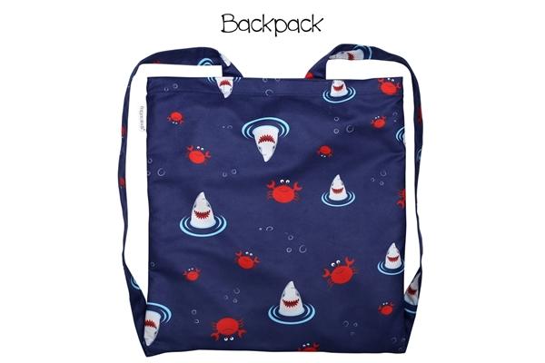 FlapJackKids Πετσέτα Παραλίας Backpack – Shark/Crab