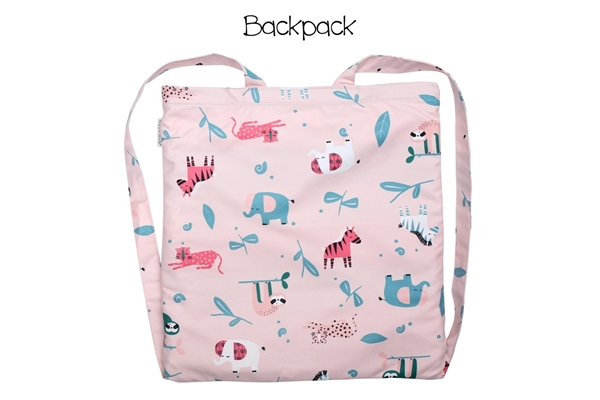 FlapJackKids Πετσέτα Παραλίας Backpack – Pink Zoo