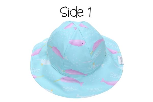 FlapJackKids Αντηλιακό Καπέλο Διπλής Όψης UPF 50+ – Φάλαινα Μονόκερος