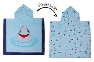FlapJackKids Πόντσο Διπλής Όψης UPF50+ Καρχαρίας