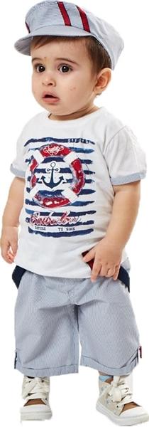 Hashtag Bebe 3 τμχ Βερμούδα, Μπλούζα και Καπέλο Navy
