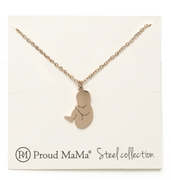 Proud MaMa Κολιέ Steel Rose Gold Baby