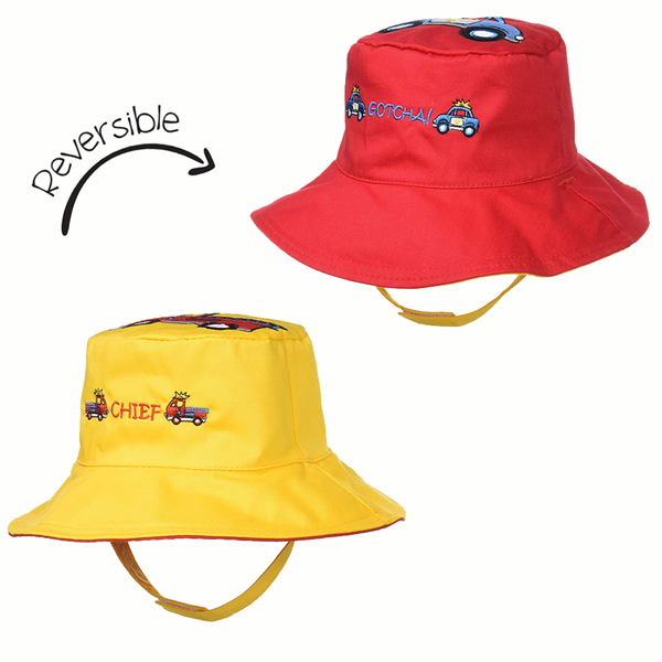 FlapJackKids Αντηλιακό Καπέλο Διπλής Όψης UPF 50+ Πυροσβεστικό/Περιπολικό