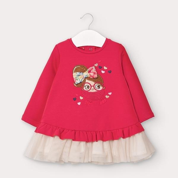Mayoral Φόρεμα Φουτερ Τούλι baby, Κοραλί