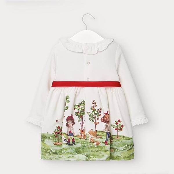 Mayoral Φόρεμα Φουτερ Μπορντούρα baby, Εκρού