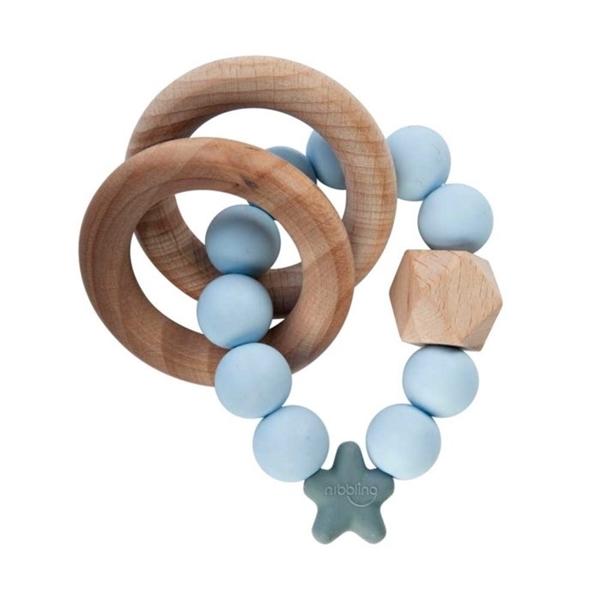 Nibbling Μασητικό Κρίκος Οδοντοφυίας Stellar Nat. Wood Soft Blue