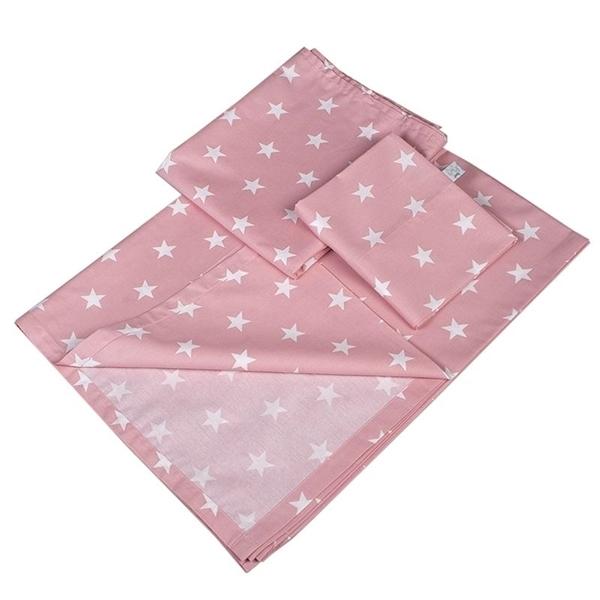 Καρφιτσωμένος Γάτος - Σετ σεντόνια κούνιας 3τμχ - Ροζ Αστέρια