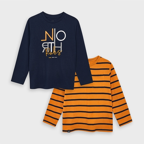 Mayoal Σετ 2 Μπλούζες Μακρυμάνικες Απλή και Ριγέ Αγόρι, Πορτοκαλί