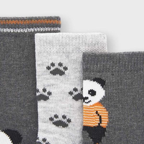 Mayoral Σετ 3 Καλτσάκια Panda Νεογέννητο Αγόρι, Γκρί