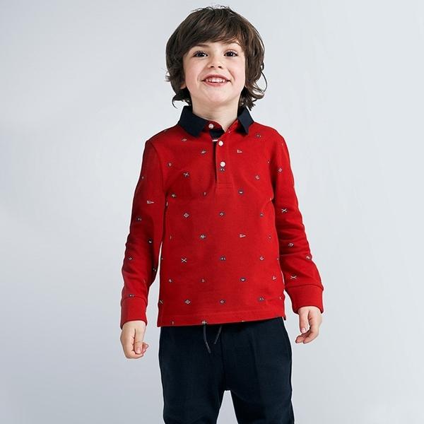 Mayoral Μπλούζα Πόλο Μακρυμάνικη Αγόρι, Κερασί
