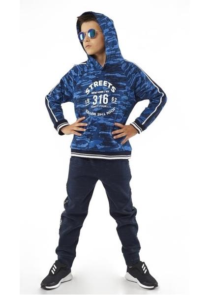Hashtag Σετ Φόρμας Με Κουκούλα και Τσέπη Αγόρι Παραλλαγής Μπλε