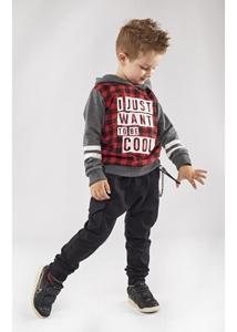 Hashtag Σετ Φόρμας Για Αγόρι, Καρώ Κόκκινη