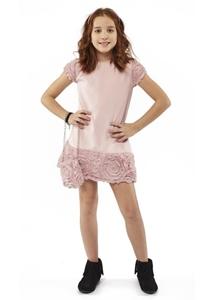 Εβίτα Fashion Φόρεμα Και Τσαντάκι Ροζ Λουλούδια