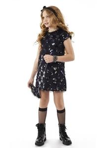 Εβίτα Fashion Φόρεμα Και Τσαντάκι Με Κρόσια Μαύρο