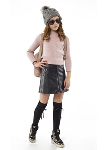 Εβίτα Fashion Φούστα Δερματίνη, Μαύρη
