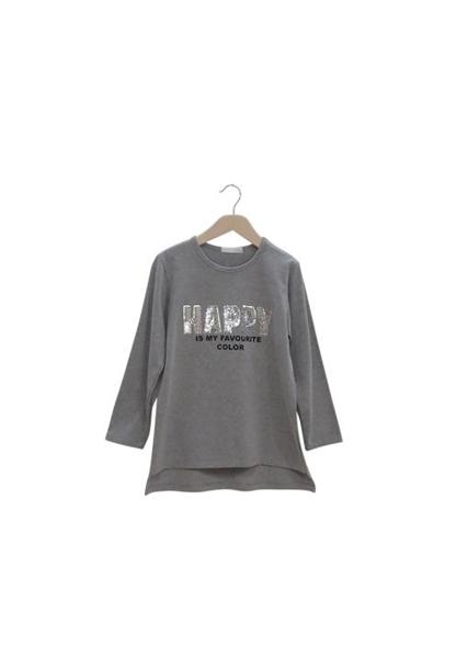 Εβίτα Fashion Μπλούζα Με Παγιέτες Happy, Γκρί
