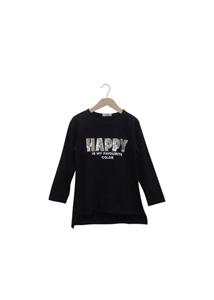 Εβίτα Fashion Μπλούζα Με Παγιέτες Happy, Μαύρο