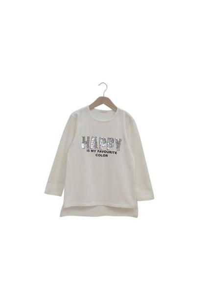 Εβίτα Fashion Μπλούζα Με Παγιέτες Happy, Λευκό