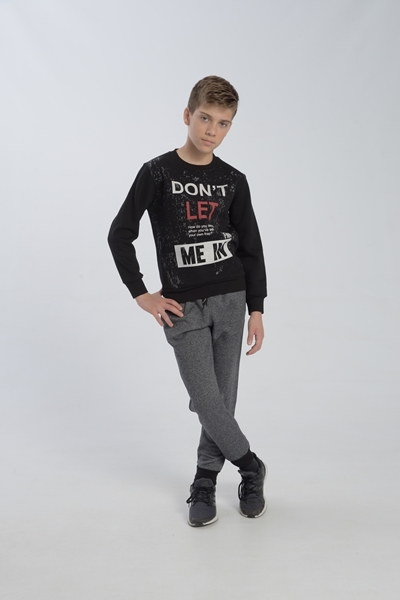 Funky Σετ Φόρμας Αγόρι Don't let Μαυρο Γκρί