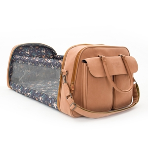 Bizzi Growin Τσάντα Αλλαξιέρα & Πτυσσόμενο Πορτ Μπεμπέ Vegan Leather Pod Brown