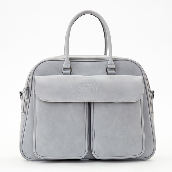 Bizzi Growin Τσάντα Αλλαξιέρα & Πτυσσόμενο Πορτ Μπεμπέ Vegan Leather Pod Grey